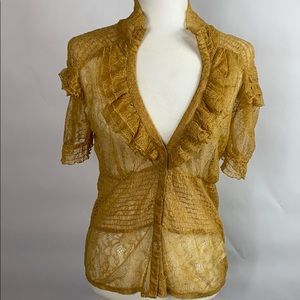 BEBE GOLD LACE VICTORIAN BLOUSE
